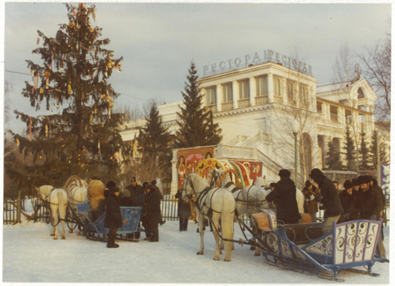 People enjoying a horse carriage ride